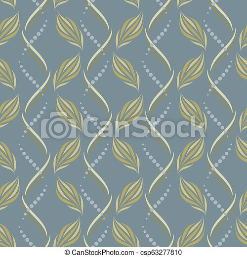 Seamless Vector Wavy Pattern With Abstract Floral And Geometric Elements In Pastel Beige Colors On Blue Gray Background