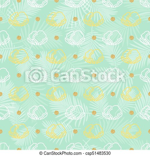 seamless vegetable with gold dot glitter pattern background - csp51483530