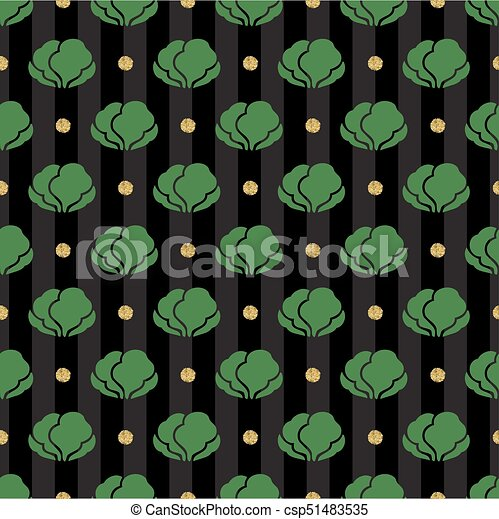 seamless vegetable with gold dot glitter pattern on stripe background - csp51483535