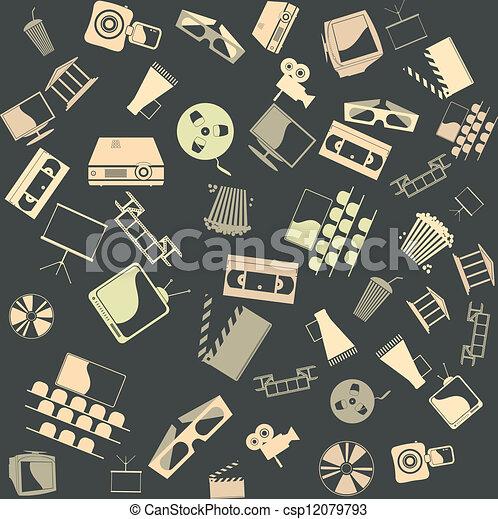 seamless., vetorial, fundo, retro, película - csp12079793