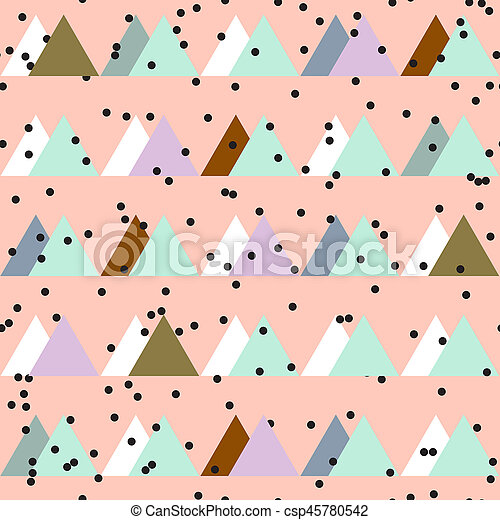 Seamless vintage abstract pattern with triangles in the style of 80's. Fashion background in Memphis. - csp45780542