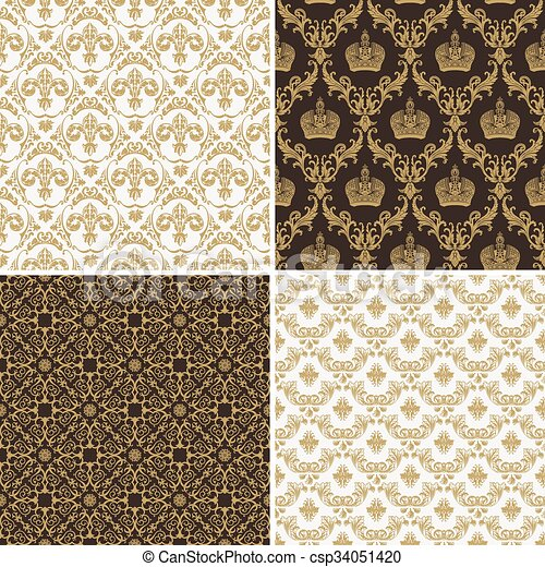 Seamless Vintage Floral Background Gold And Black Pattern