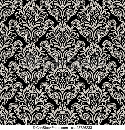 Seamless Vintage Floral Wallpaper Vector Pattern