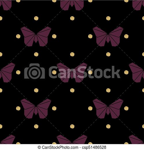 seamless violet origami with gold dot glitter butterfly pattern background - csp51486528