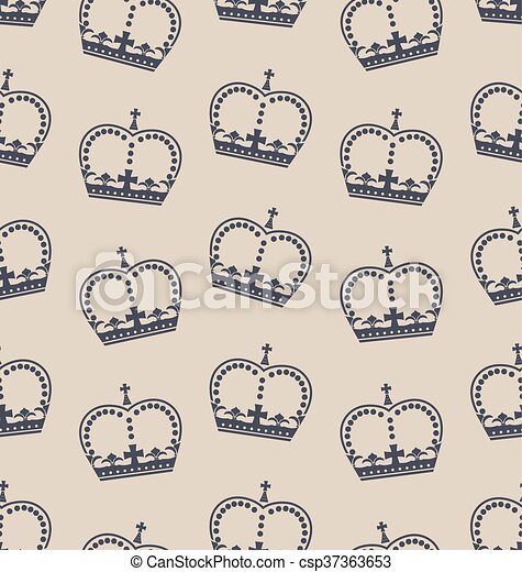 Seamless Wallpaper Representing the Crown of the British Royal Family - csp37363653