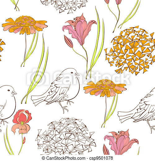 Seamless wallpaper with bird and flowers - csp9501078