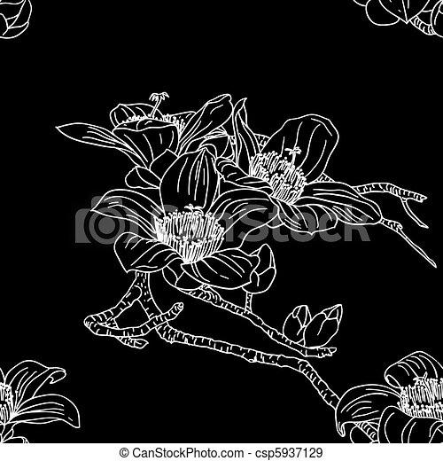 Seamless wallpaper with orchid flowers - csp5937129