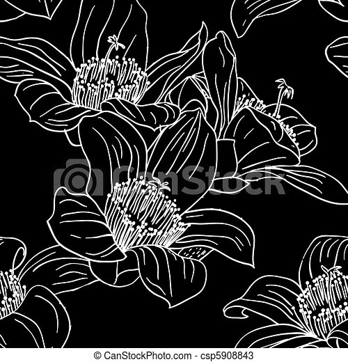Seamless wallpaper with orchid flowers - csp5908843