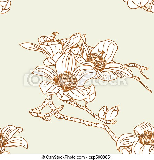 Seamless wallpaper with orchid flowers - csp5908851