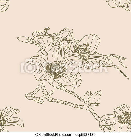 Seamless wallpaper with orchid flowers - csp5937130