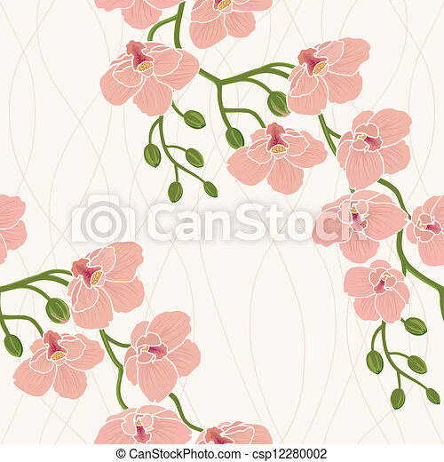 Seamless wallpaper with orchids - csp12280002