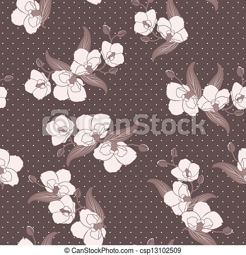 Seamless wallpaper with orchids - csp13102509