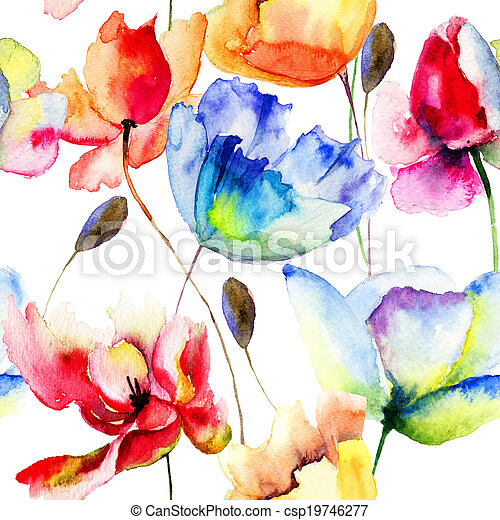 Seamless wallpaper with Poppy and Tulips flowers - csp19746277
