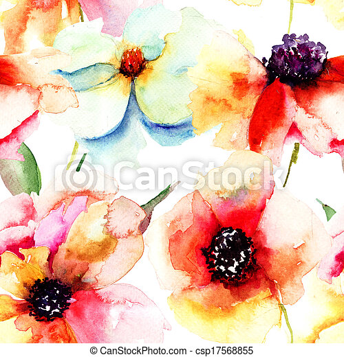 Seamless wallpaper with summer flowers - csp17568855