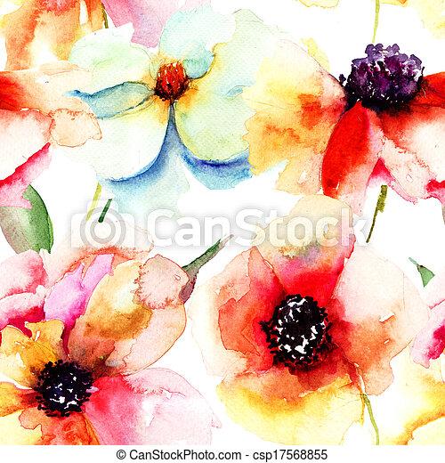 Seamless wallpaper with summer flowers - csp17568855