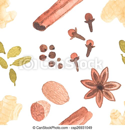 Seamless watercolor pattern with spices on the white background, aquarelle. Vector illustration. - csp26931049