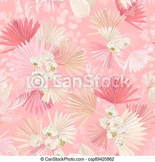 Seamless watercolor tropic floral pattern, pastel dry palm leaves, boho tropical flower, orchid - csp89420862
