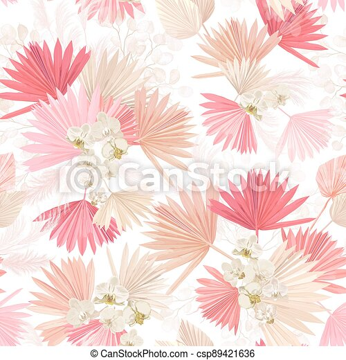 Seamless watercolor tropic floral pattern, pastel dry palm leaves, boho tropical flower, orchid - csp89421636
