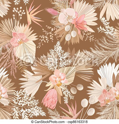 Seamless watercolor tropic floral pattern, pastel dry palm leaves, boho tropical flower, orchid, protea - csp86163318