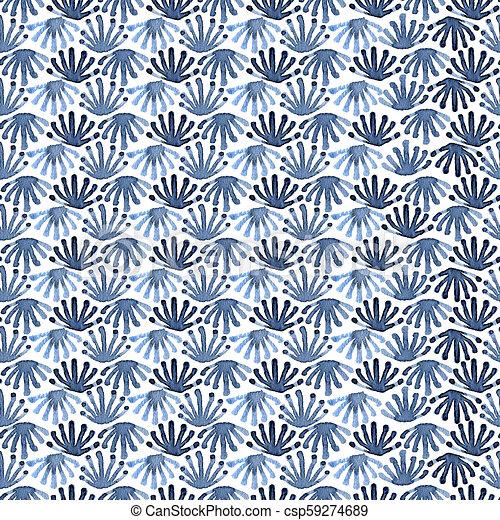 Seamless watercolour tile chaos floral pattern - csp59274689