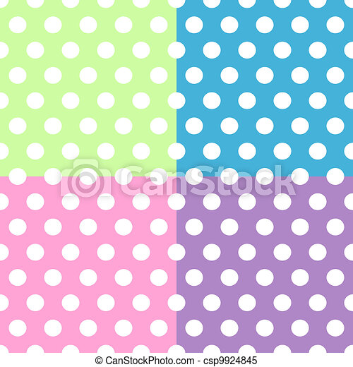 Seamless white polka dots pattern over colorful squares - csp9924845