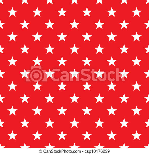 Seamless White Stars on Red - csp10176239