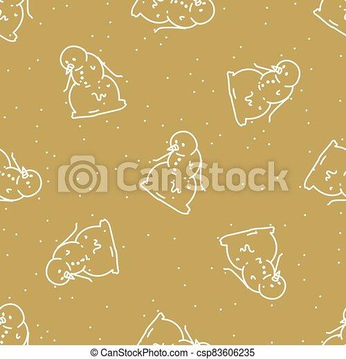 Seamless winter snowman background pattern. Simple gender neutral nursery festive scrapbook digital paper. Kids whimsical cute cartoon wallpaper all over print. - csp83606235