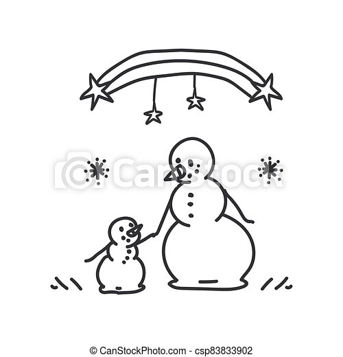 Seamless winter snowman parent scene illustration clipart. Simple gender neutral nursery festive scrapbook sticker. Kids whimsical cute hand drawn cartoon christmas motif. - csp83833902