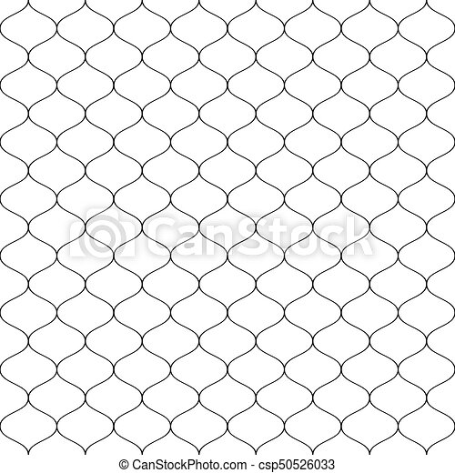Seamless wired netting fence. Simple black vector illustration on white background - csp50526033