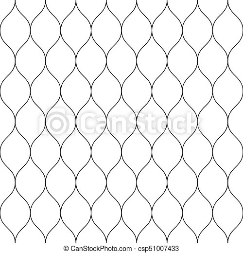 Seamless wired netting fence. Simple black vector illustration on white background - csp51007433