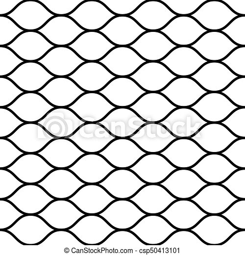 Seamless wired netting fence. Simple black vector illustration on white background - csp50413101