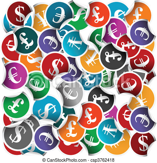 Seamless With Stickers With International Currency Symbols