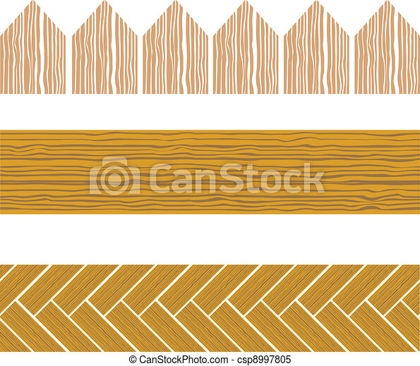 Seamless Wood Border Set Of Wooden Clipart Vector