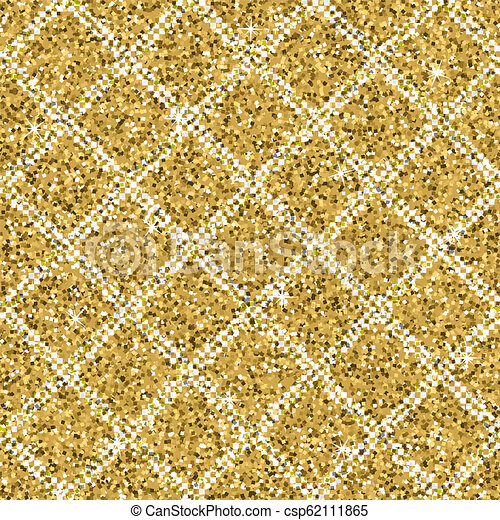 Seamless yellow gold glitter texture with silver diagonal lines. Shimmer background. - csp62111865
