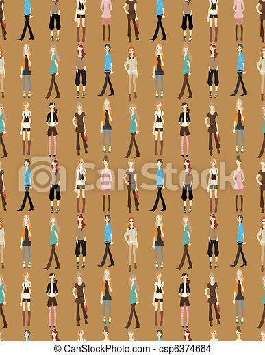 seamless young girl pattern - csp6374684