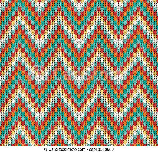 Seamless Zigzag Knitting Pattern Vector Illustration Vector