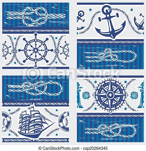 seampless, symboles, nœuds, motifs, nautique, marin - csp20264345
