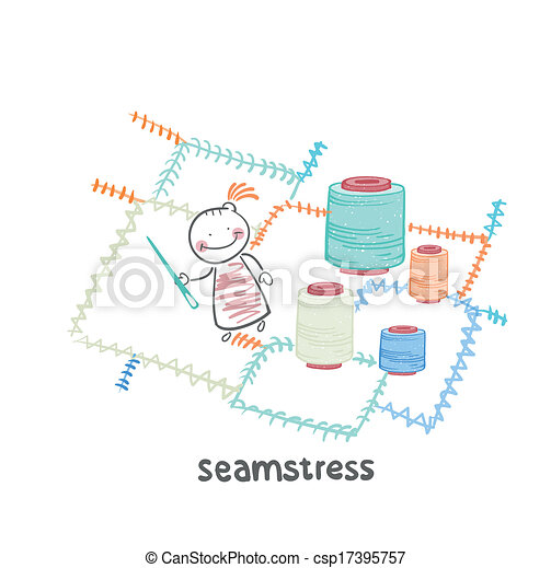seamstress sewing colored threads huge colorful cloth - csp17395757