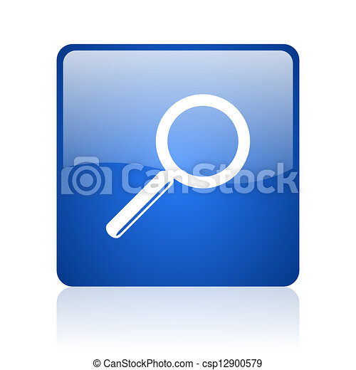 search blue square glossy web icon on white background - csp12900579