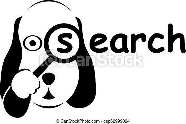 Search dog logo in black and white colors. - csp62999024