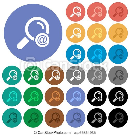 Search email address round flat multi colored icons - csp65364935