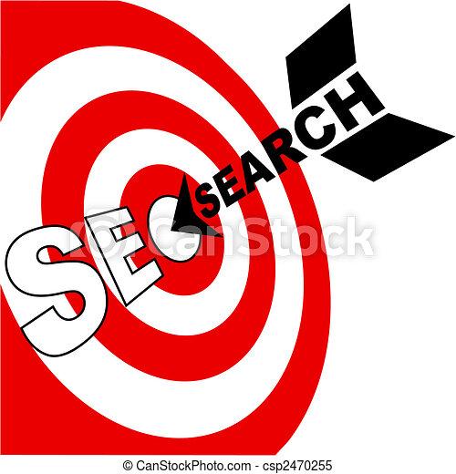 Search engine optimization arrow hits SEO target - csp2470255