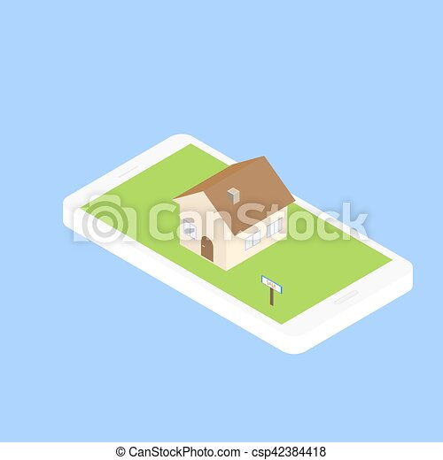 Search for real estate via the Internet through your smartphone. Finding a home to rent or buy. Vector illustration of an isometric 3D. - csp42384418