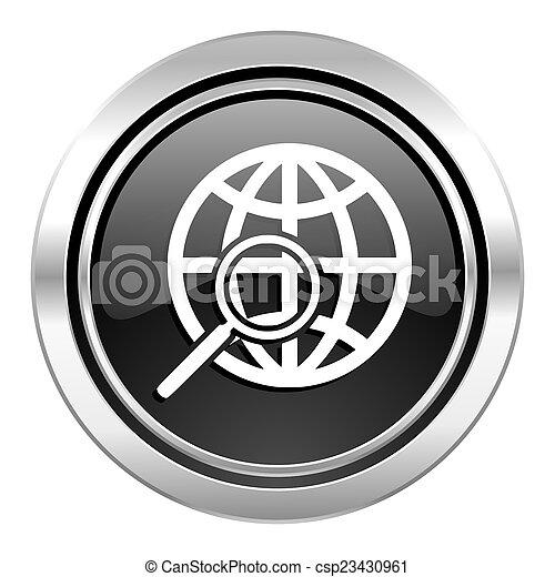 search icon, black chrome button - csp23430961