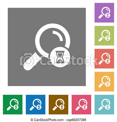 Search in progress square flat icons - csp66207398