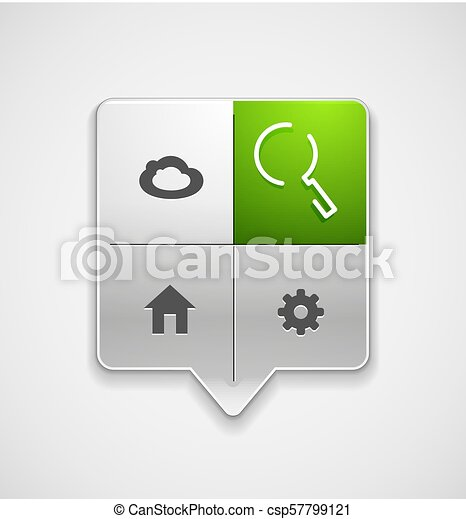 Search magnifyier web button, magnify icon. Modern magnifying glass sign, web site design or mobile app - csp57799121