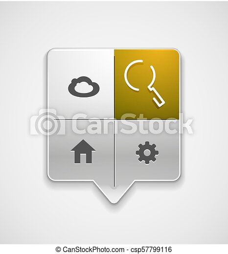 Search magnifyier web button, magnify icon. Modern magnifying glass sign, web site design or mobile app - csp57799116
