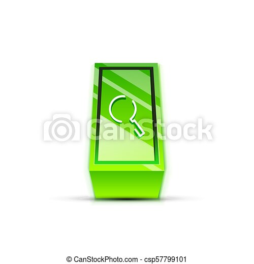 Search magnifyier web button, magnify icon. Modern magnifying glass sign, web site design or mobile app - csp57799101
