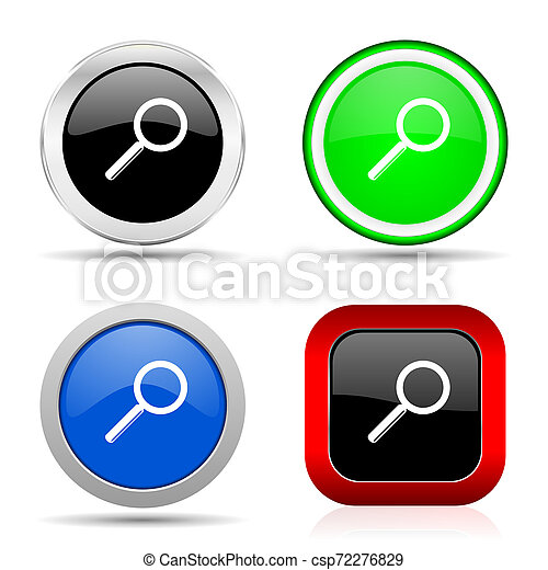 Search red, blue, green and black web glossy icon set in 4 options - csp72276829