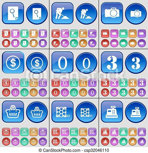 Search, Road works, Camera, Dollar, Zero, Three, Basket, Videotape, Cash register. A large set of multi-colored buttons. Vector - csp32046110